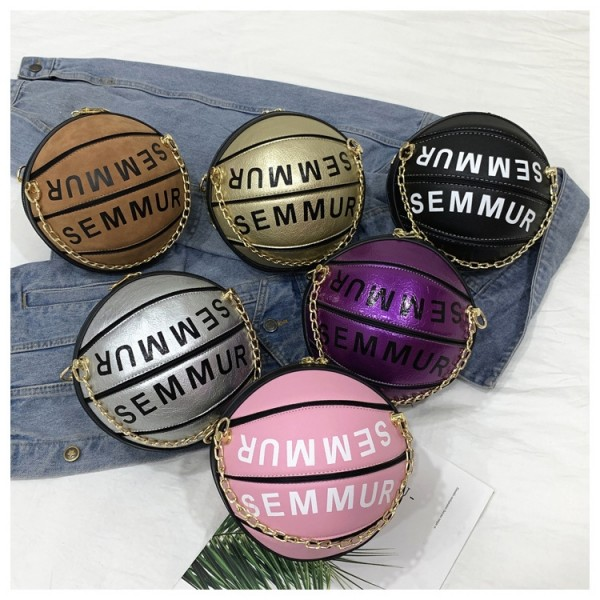 Chic Basketball Shaped Cross-body Bag Small Round Tote Bag