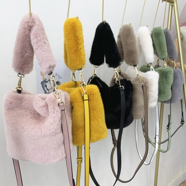Luxury Fur Handbags Women's Winter Plush Bucket Bag
