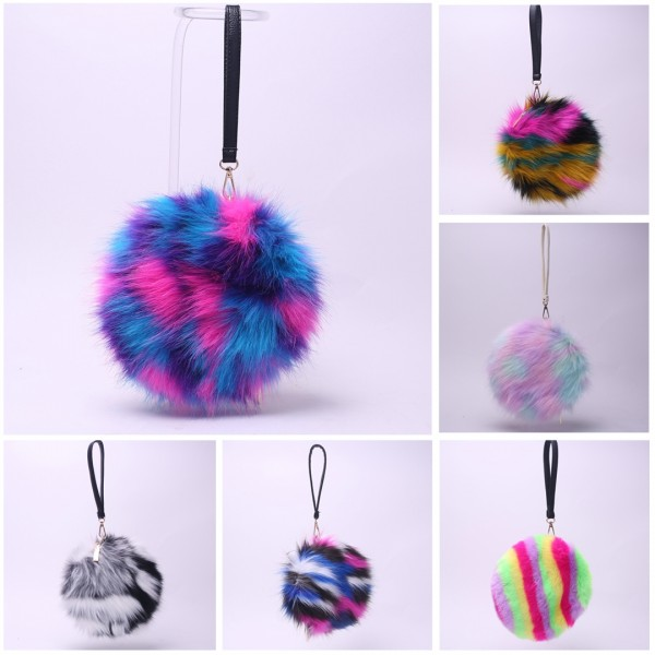 Women's Small Faux Fur Purse Colorful Round Furry Clutch