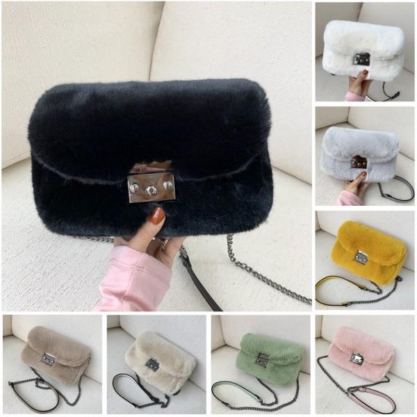 Chic Faux Fur Shoulder Bags Winter Chain Strap Cross-body Bags