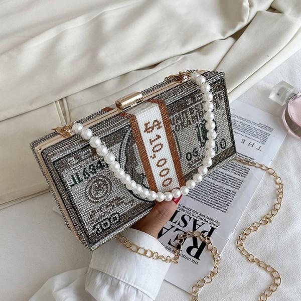 Shiny Rhinestone Dollar Design Clutch Bag with Pearls Strap