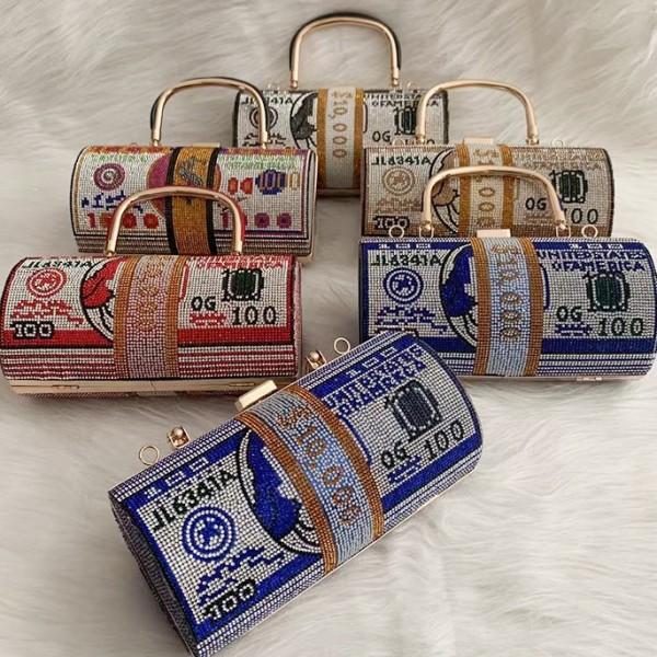 Luxury Rhinestone Cylinder Clutch Bag Roll Money Purse