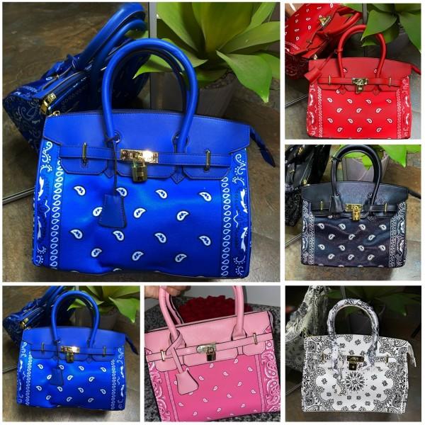 Colorful Bandana Handbag  Women's Floral Printed Purse
