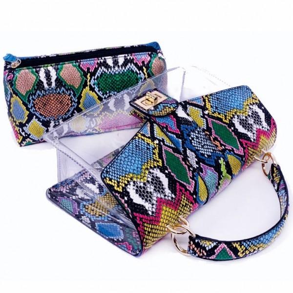Medium Snakeskin Print Handbag Women's Crossbody Clear Shoulder Bag