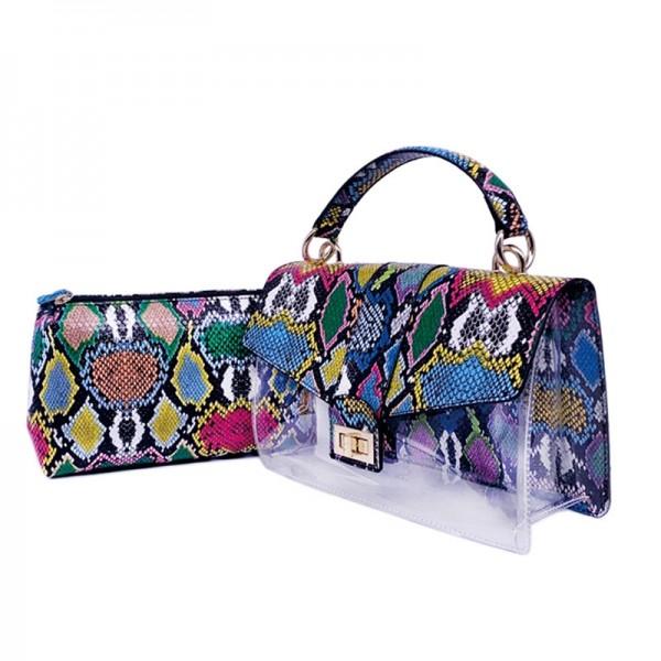 Clear Snakeskin Print Handbag with Inner Pouch