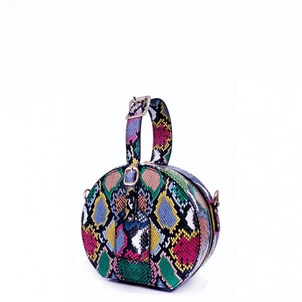 Snakeskin Print Medium Round Handbag Women's Crossbody Shoulder Bag