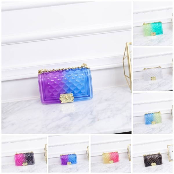 Women Ombre Clear Jelly Purse Small Fashion Shoulder Bag