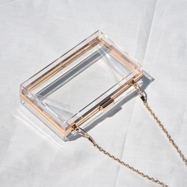 Acrylic Clear Clutch Bag Transparent Box Handbag