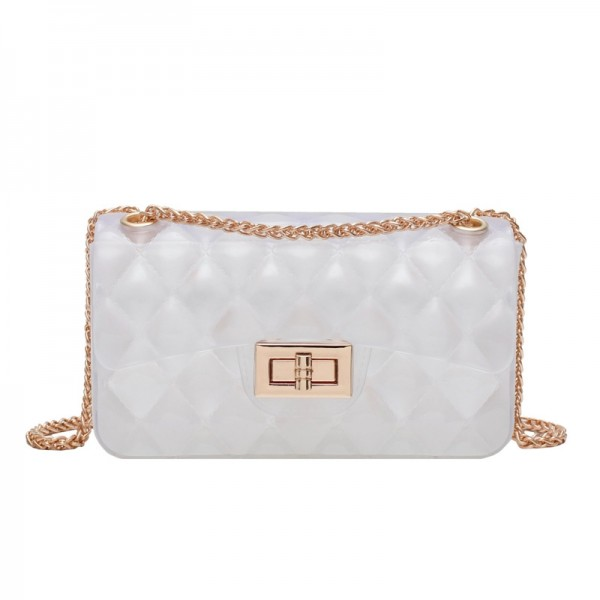 White Clear Jelly Purse Medium Quilted Crossbody Bag