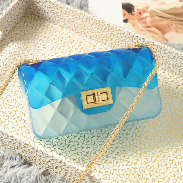 Blue Clear Jelly Purse Medium Quilted Flap Bag