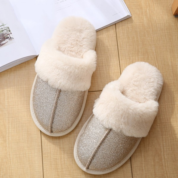 Shiny Scuffette Slippers for Women and Girls Warm Plush Slippers